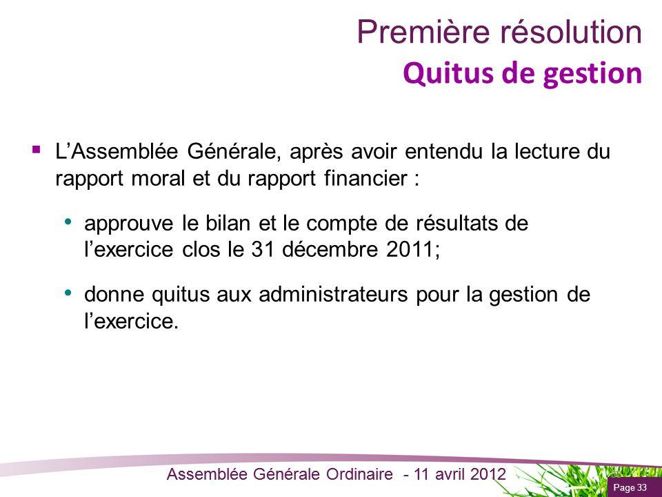 Page 33 Assemblée Générale Ordinaire - 11 avril 2012 Première résolution Quitus de gestion LAssemblée Générale, après avoir entendu la lecture du rapp