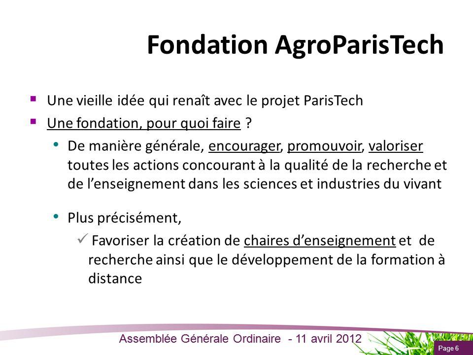 Page 6 Assemblée Générale Ordinaire - 11 avril 2012 Une vieille idée qui renaît avec le projet ParisTech Une fondation, pour quoi faire ? De manière g