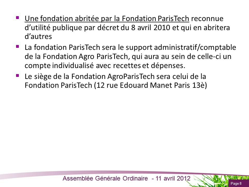 Page 8 Assemblée Générale Ordinaire - 11 avril 2012 Une fondation abritée par la Fondation ParisTech reconnue dutilité publique par décret du 8 avril