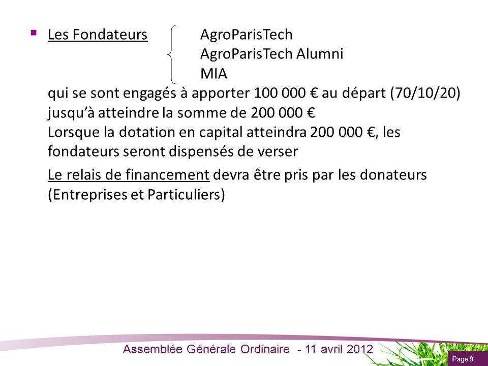 Page 9 Assemblée Générale Ordinaire - 11 avril 2012 Les Fondateurs AgroParisTech AgroParisTech Alumni MIA qui se sont engagés à apporter 100 000 au dé