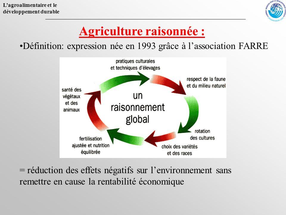Lagroalimentaire et le développement durable Agriculture raisonnée : Définition: expression née en 1993 grâce à lassociation FARRE = réduction des eff