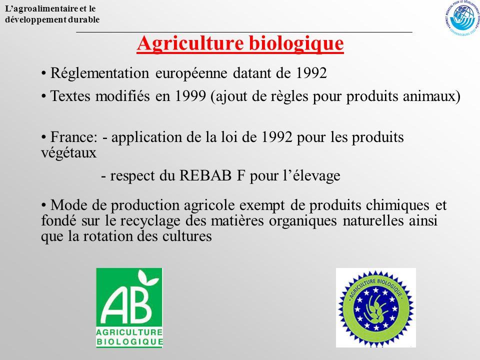 Lagroalimentaire et le développement durable Agriculture biologique Mode de production agricole exempt de produits chimiques et fondé sur le recyclage
