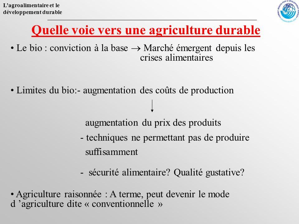 Lagroalimentaire et le développement durable Quelle voie vers une agriculture durable Agriculture raisonnée : A terme, peut devenir le mode d agricult