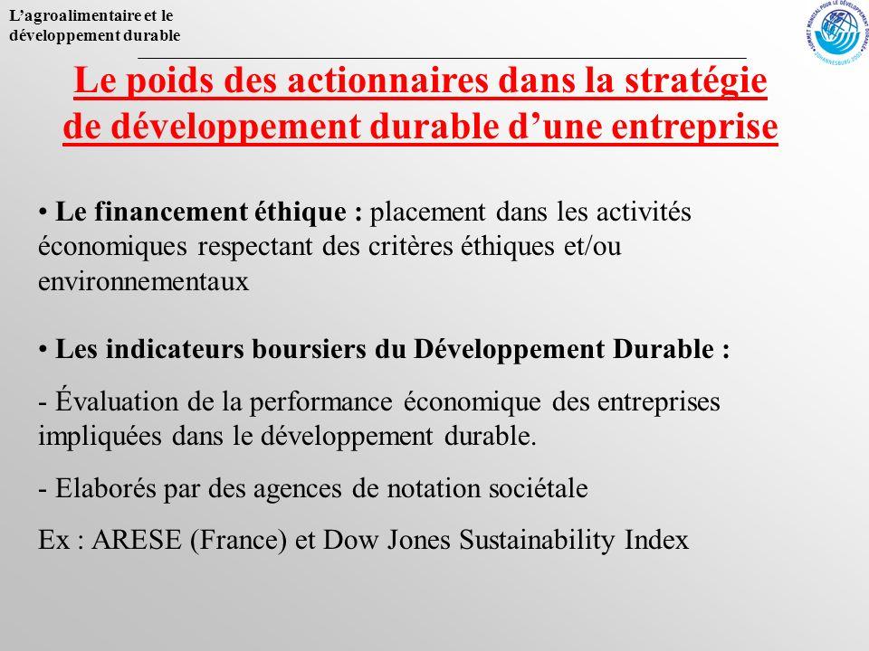 Lagroalimentaire et le développement durable Le poids des actionnaires dans la stratégie de développement durable dune entreprise Le financement éthiq