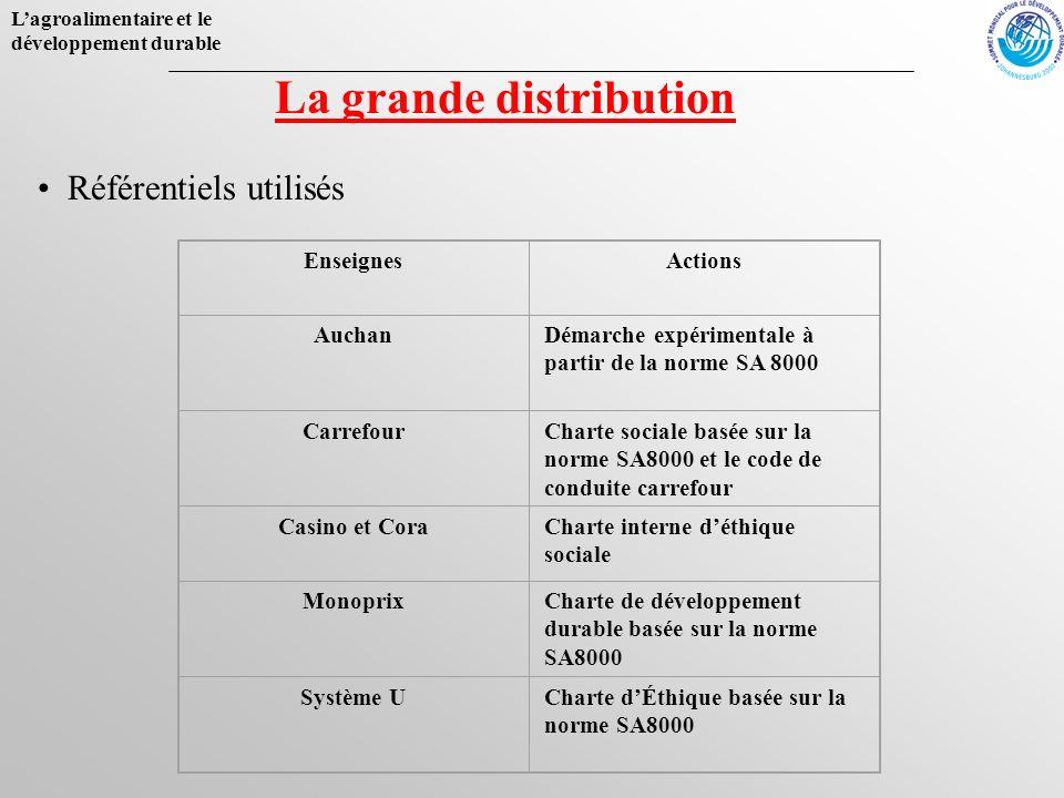 Lagroalimentaire et le développement durable EnseignesActions AuchanDémarche expérimentale à partir de la norme SA 8000 CarrefourCharte sociale basée