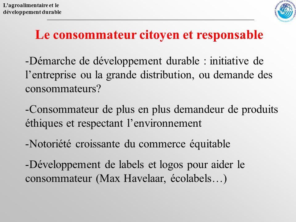 Lagroalimentaire et le développement durable Le consommateur citoyen et responsable -Démarche de développement durable : initiative de lentreprise ou