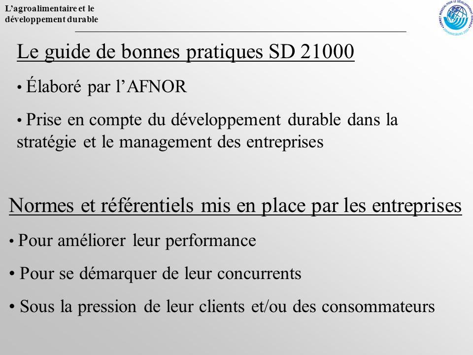 Lagroalimentaire et le développement durable Le guide de bonnes pratiques SD 21000 Élaboré par lAFNOR Prise en compte du développement durable dans la