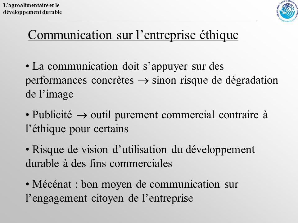 Lagroalimentaire et le développement durable La communication doit sappuyer sur des performances concrètes sinon risque de dégradation de limage Publi
