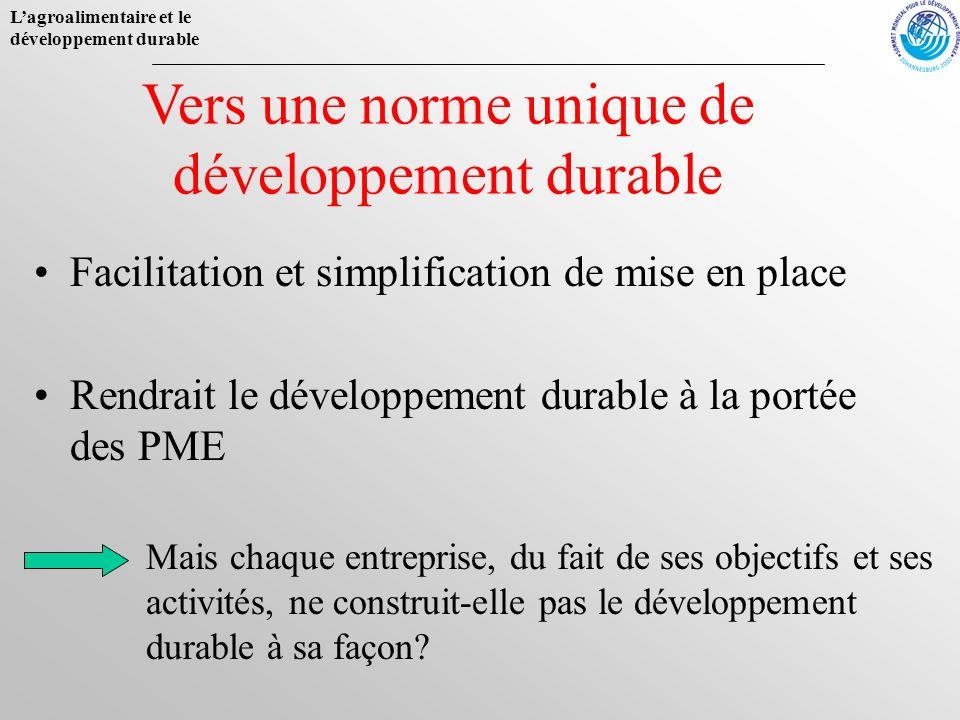 Lagroalimentaire et le développement durable Facilitation et simplification de mise en place Rendrait le développement durable à la portée des PME Ver