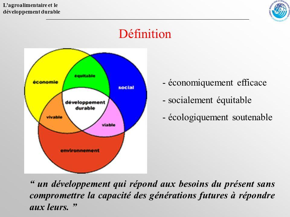 Lagroalimentaire et le développement durable Définition un développement qui répond aux besoins du présent sans compromettre la capacité des génératio