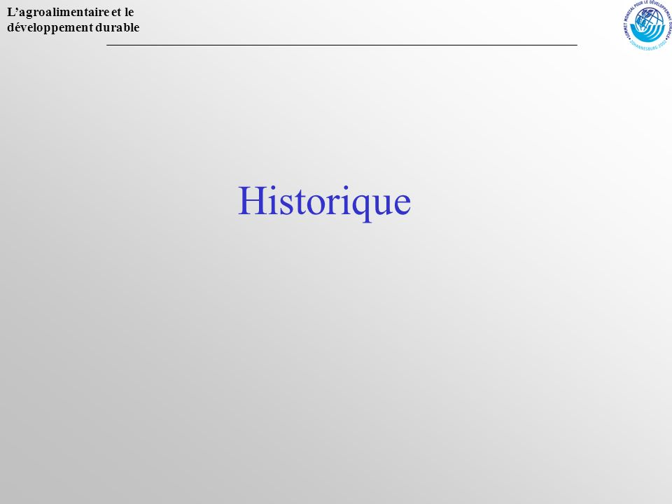 Lagroalimentaire et le développement durable Historique