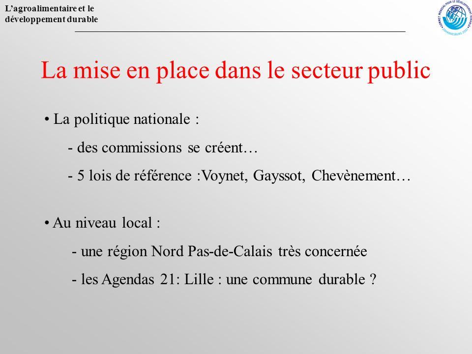 La mise en place dans le secteur public La politique nationale : - des commissions se créent… - 5 lois de référence :Voynet, Gayssot, Chevènement… Au