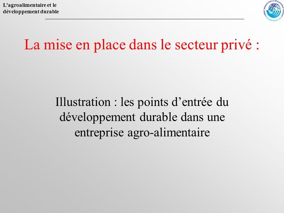 Lagroalimentaire et le développement durable La mise en place dans le secteur privé : Illustration : les points dentrée du développement durable dans
