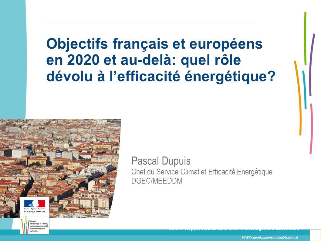 Objectifs français et européens en 2020 et au-delà: quel rôle dévolu à lefficacité énergétique? WWW.developpement-durable.gouv.fr Ministère de l'Écolo