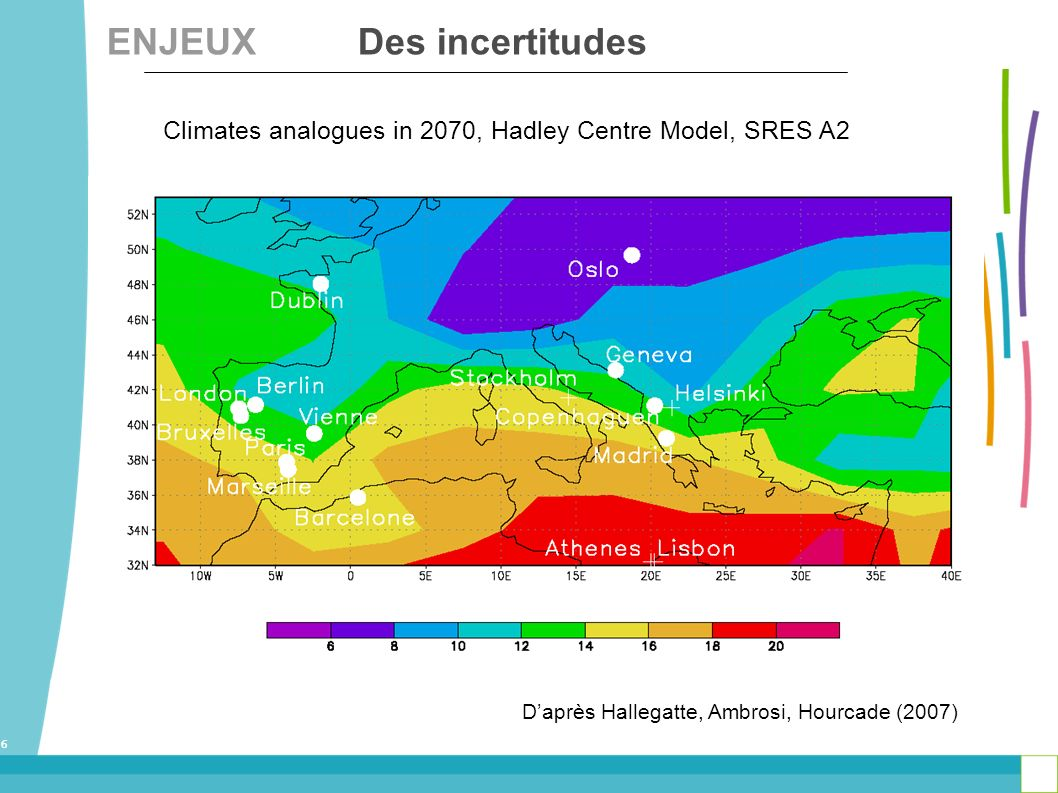 6 Climates analogues in 2070, Hadley Centre Model, SRES A2 Daprès Hallegatte, Ambrosi, Hourcade (2007) ENJEUX Des incertitudes