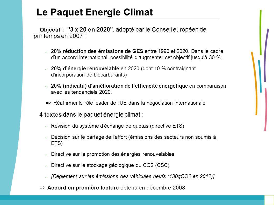 Le Paquet Energie Climat Objectif :
