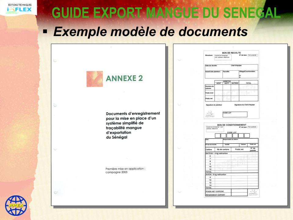 EDITIONS TECHNIQUES GUIDE EXPORT MANGUE DU SENEGAL Exemple modèle de documents