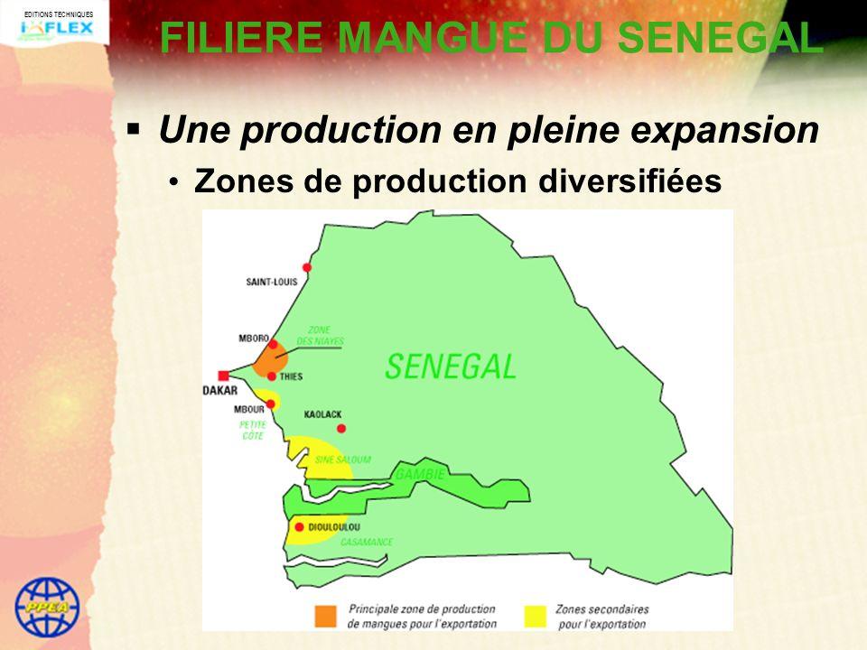 EDITIONS TECHNIQUES FILIERE MANGUE DU SENEGAL Une production en pleine expansion Zones de production diversifiées