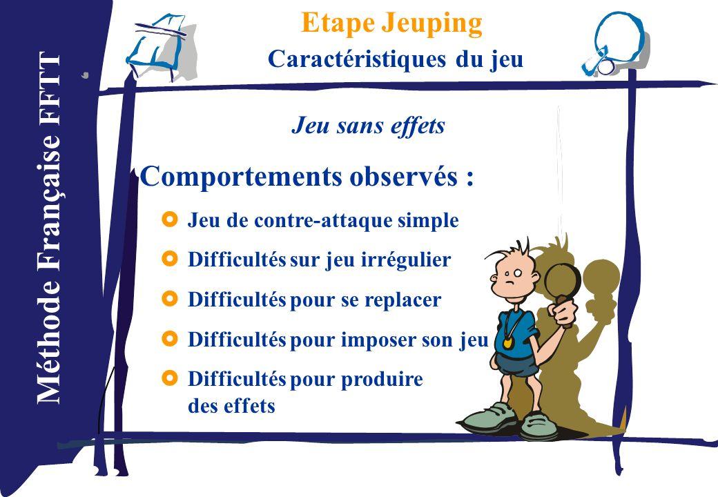 Méthode Française FFTT Etape Jeuping Caractéristiques du jeu Jeu sans effets Comportements observés : Jeu de contre-attaque simple Difficultés sur jeu