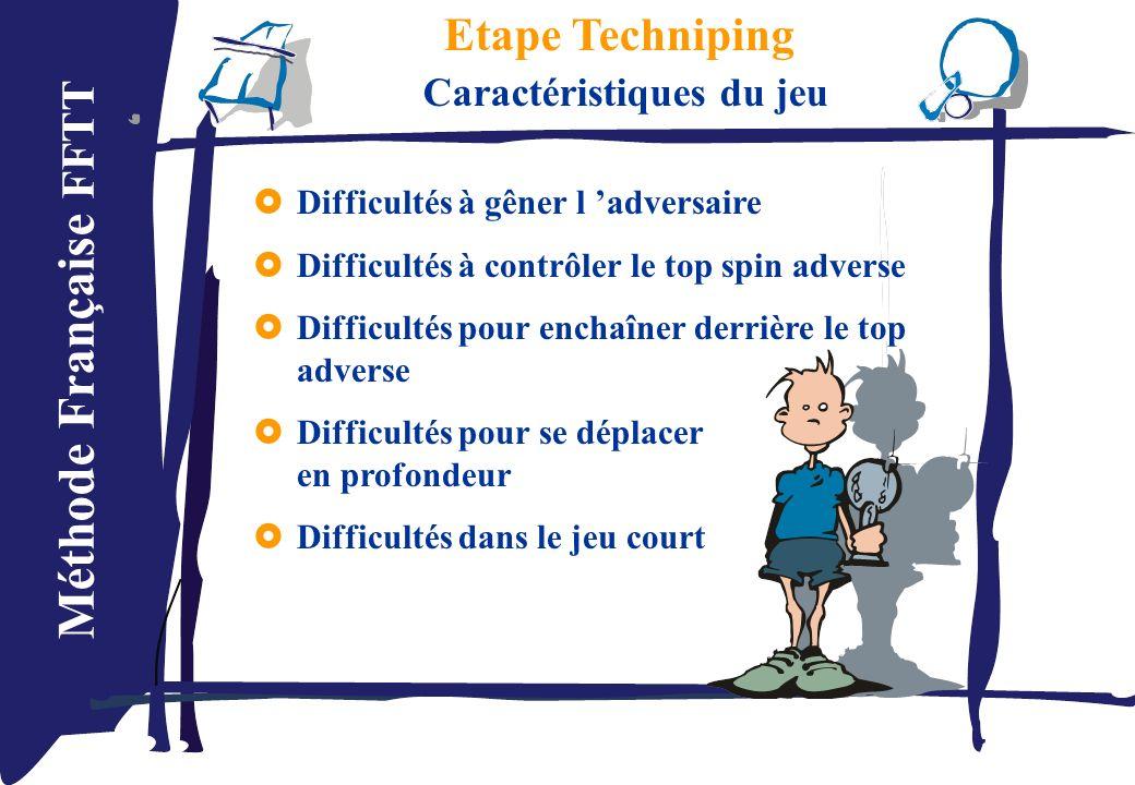 Méthode Française FFTT Etape Techniping Caractéristiques du jeu Difficultés à gêner l adversaire Difficultés à contrôler le top spin adverse Difficult