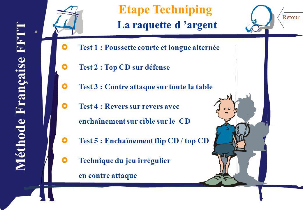 Méthode Française FFTT Etape Techniping La raquette d argent Test 1 : Poussette courte et longue alternée Test 2 : Top CD sur défense Test 3 : Contre