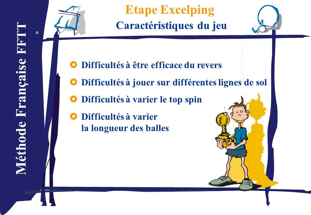 Méthode Française FFTT Etape Excelping Caractéristiques du jeu Difficultés à être efficace du revers Difficultés à jouer sur différentes lignes de sol