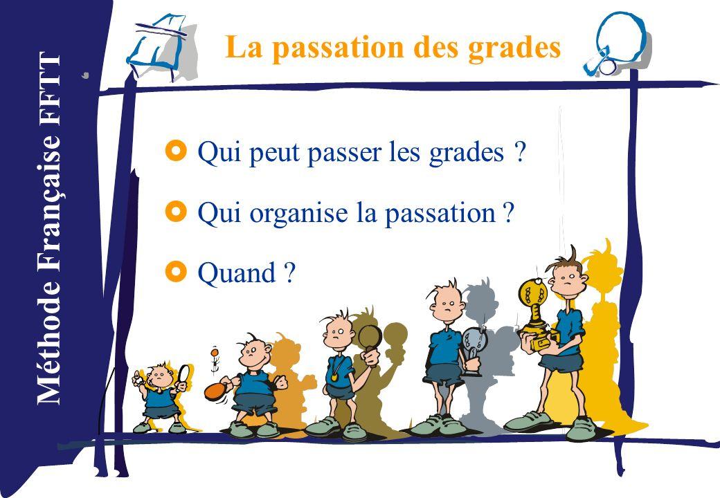 Méthode Française FFTT La passation des grades Qui peut passer les grades ? Qui organise la passation ? Quand ?