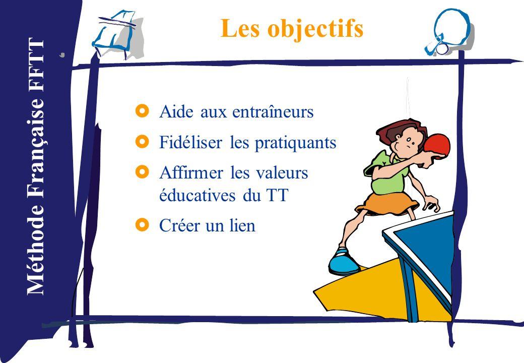 Méthode Française FFTT Aide aux entraîneurs Fidéliser les pratiquants Affirmer les valeurs éducatives du TT Créer un lien Les objectifs