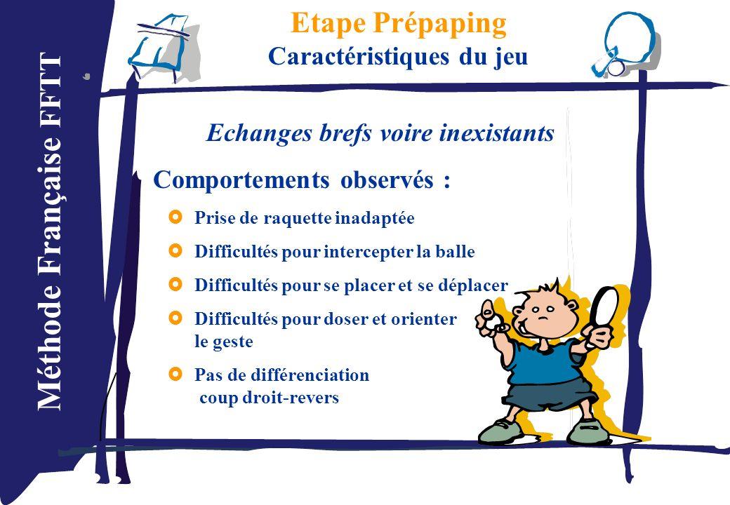Méthode Française FFTT Etape Prépaping Caractéristiques du jeu Echanges brefs voire inexistants Comportements observés : Prise de raquette inadaptée D