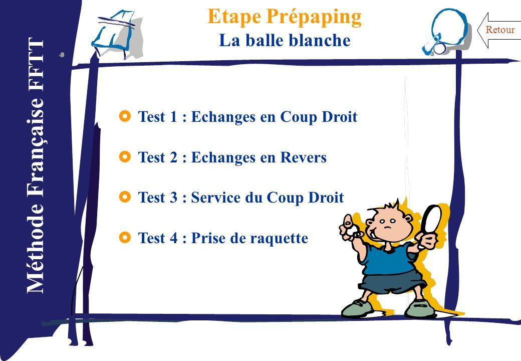 Méthode Française FFTT Etape Prépaping La balle blanche Test 1 : Echanges en Coup Droit Test 2 : Echanges en Revers Test 3 : Service du Coup Droit Tes