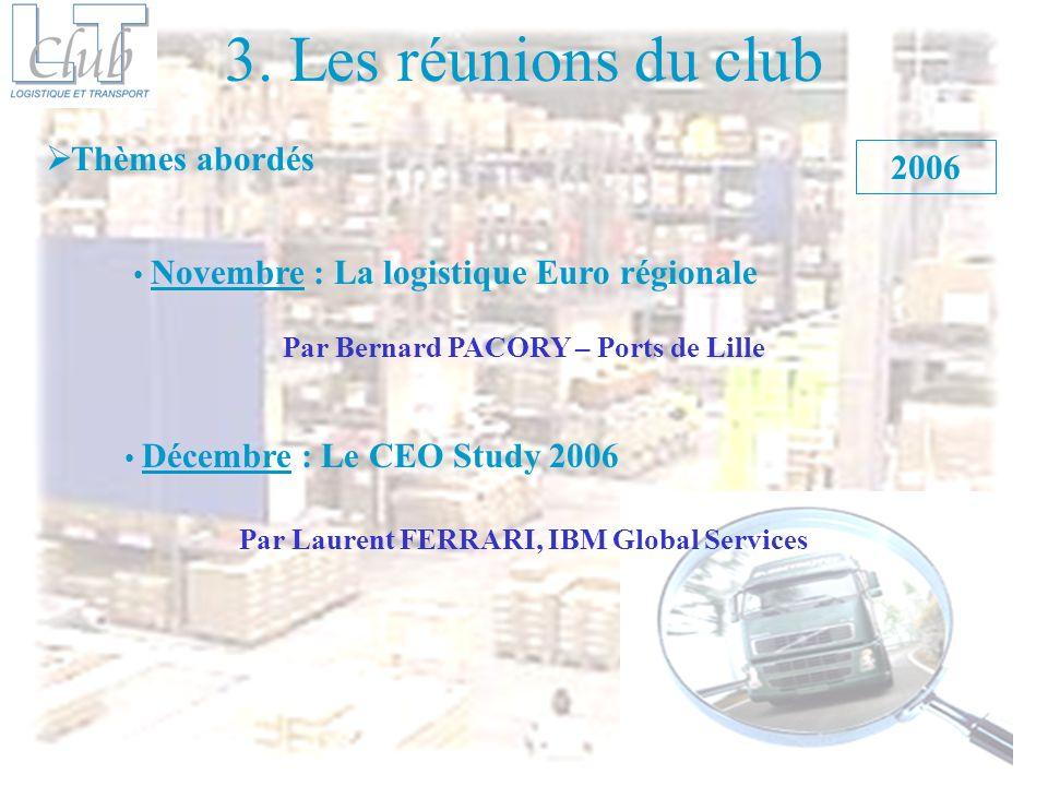 3. Les réunions du club Thèmes abordés 2006 Novembre : La logistique Euro régionale Décembre : Le CEO Study 2006 Par Bernard PACORY – Ports de Lille P