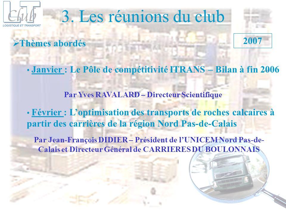 3. Les réunions du club Thèmes abordés Janvier : Le Pôle de compétitivité ITRANS – Bilan à fin 2006 2007 Février : Loptimisation des transports de roc