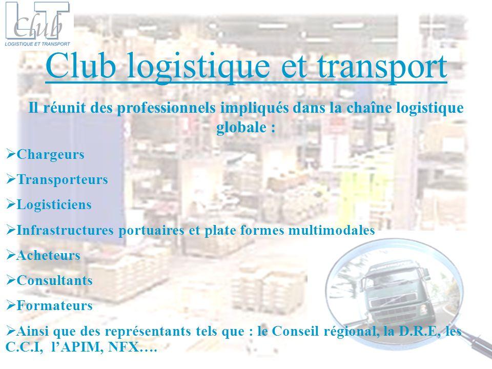 Il réunit des professionnels impliqués dans la chaîne logistique globale : Chargeurs Transporteurs Logisticiens Infrastructures portuaires et plate fo