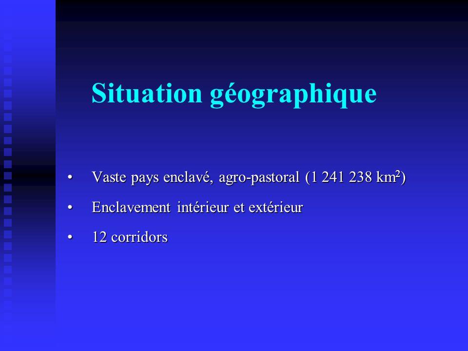 Situation géographique Vaste pays enclavé, agro-pastoral (1 241 238 km 2 )Vaste pays enclavé, agro-pastoral (1 241 238 km 2 ) Enclavement intérieur et
