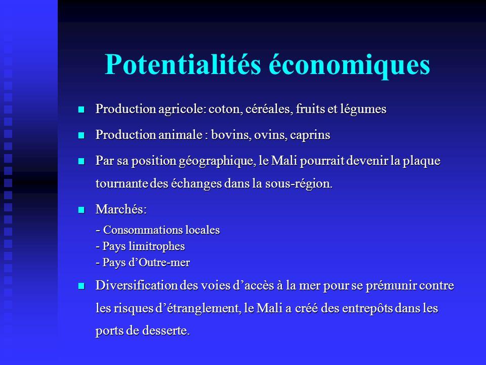 Potentialités économiques Production agricole: coton, céréales, fruits et légumes Production agricole: coton, céréales, fruits et légumes Production a