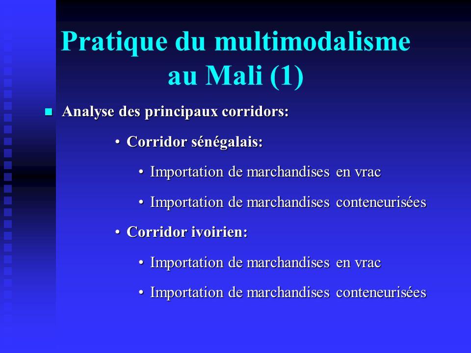 Pratique du multimodalisme au Mali (1) Analyse des principaux corridors: Analyse des principaux corridors: Corridor sénégalais:Corridor sénégalais: Im