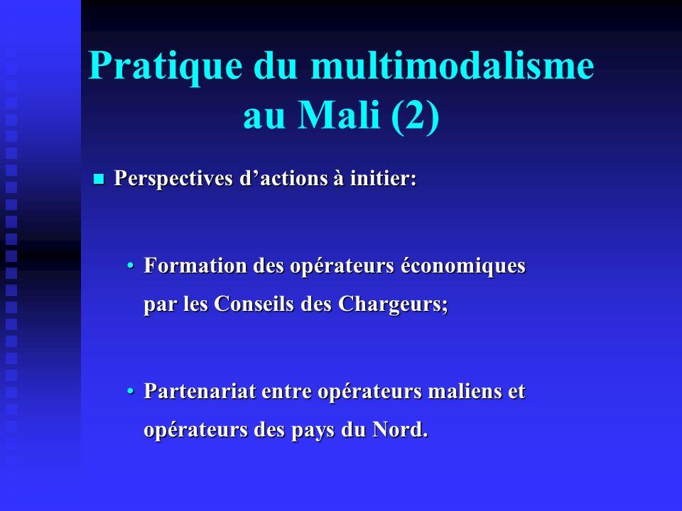 Pratique du multimodalisme au Mali (2) Perspectives dactions à initier: Perspectives dactions à initier: Formation des opérateurs économiques par les