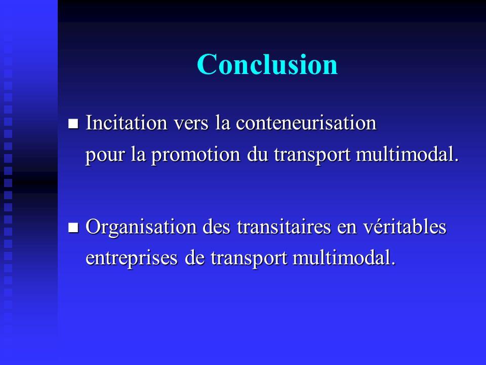 Conclusion Incitation vers la conteneurisation pour la promotion du transport multimodal. Incitation vers la conteneurisation pour la promotion du tra