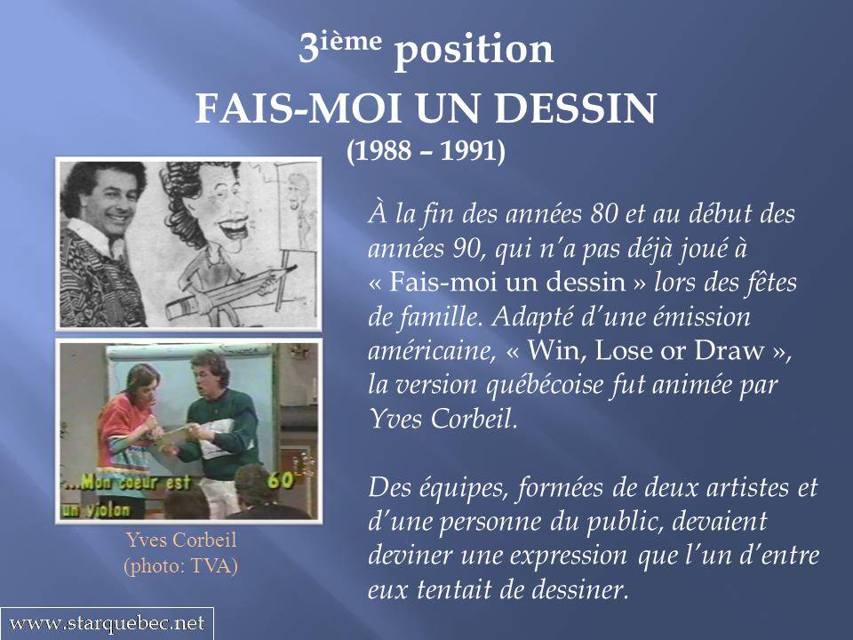 3 ième position FAIS-MOI UN DESSIN (1988 – 1991) À la fin des années 80 et au début des années 90, qui na pas déjà joué à « Fais-moi un dessin » lors