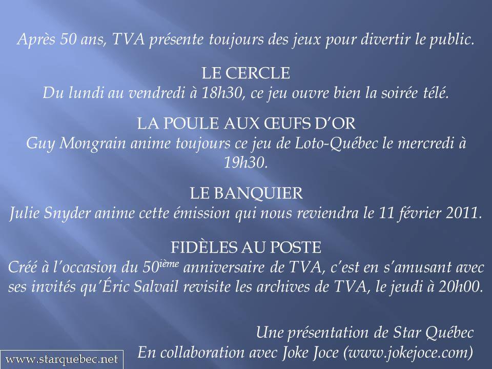 LA POULE AUX ŒUFS DOR Guy Mongrain anime toujours ce jeu de Loto-Québec le mercredi à 19h30. Après 50 ans, TVA présente toujours des jeux pour diverti