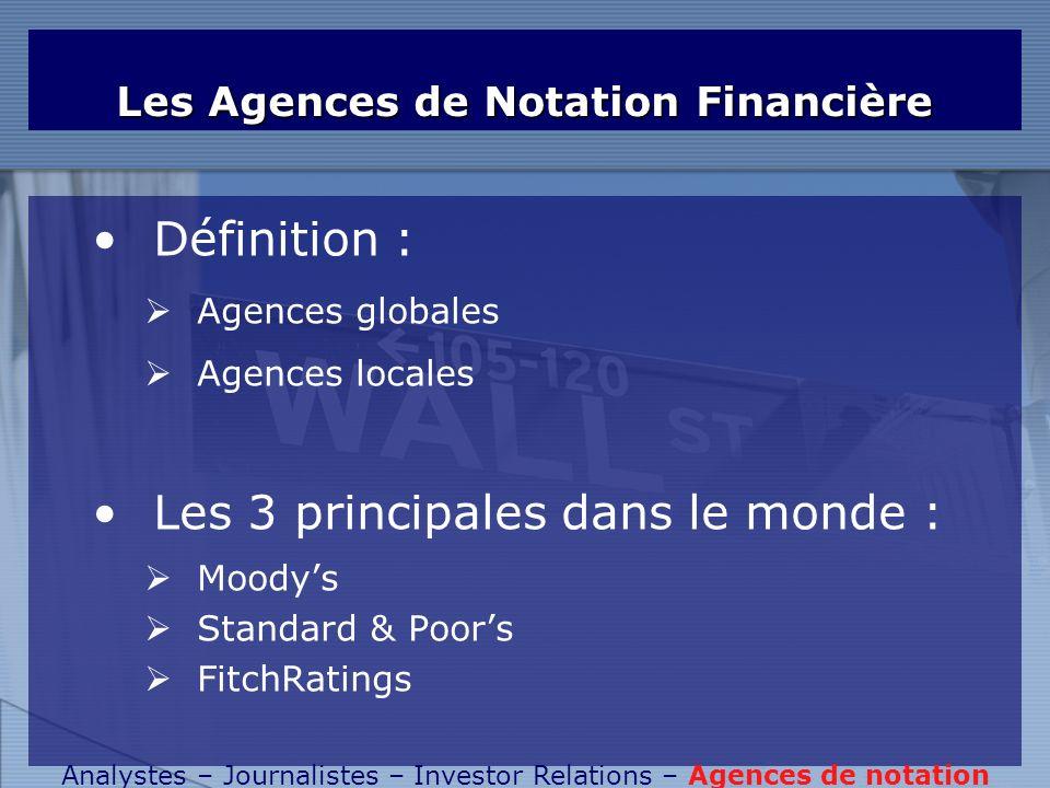 Les Agences de Notation Financière Définition : Agences globales Agences locales Les 3 principales dans le monde : Moodys Standard & Poors FitchRating