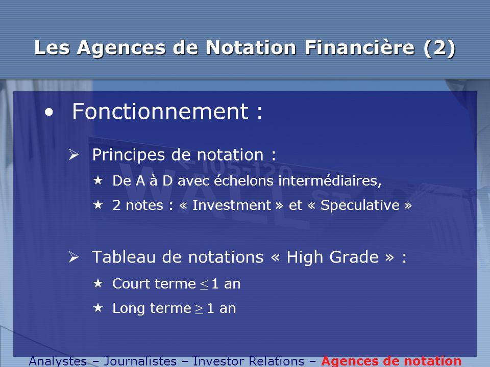 Les Agences de Notation Financière (2) Fonctionnement : Principes de notation : De A à D avec échelons intermédiaires, 2 notes : « Investment » et « S