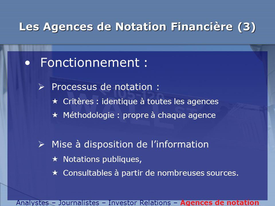 Les Agences de Notation Financière (3) Fonctionnement : Processus de notation : Critères : identique à toutes les agences Méthodologie : propre à chaq