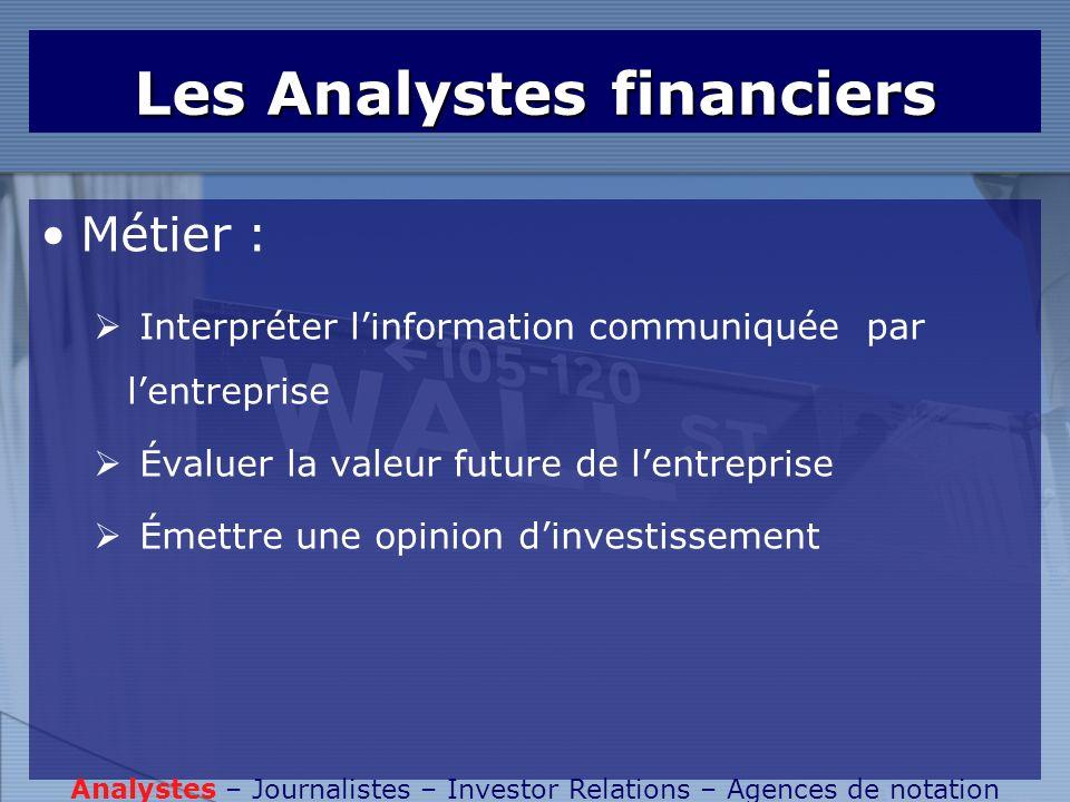 Les Analystes financiers Métier : Interpréter linformation communiquée par lentreprise Évaluer la valeur future de lentreprise Émettre une opinion din