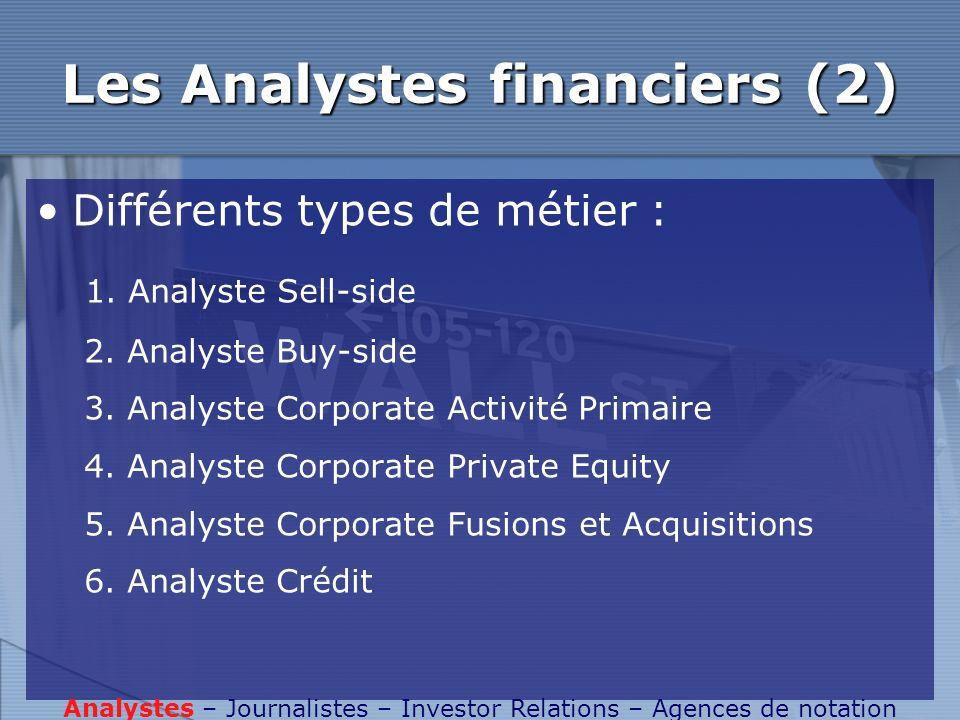 Les Analystes financiers (2) Différents types de métier : 1. Analyste Sell-side 2. Analyste Buy-side 3. Analyste Corporate Activité Primaire 4. Analys