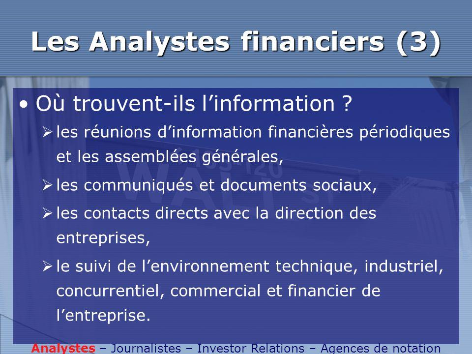 Les Analystes financiers (3) Où trouvent-ils linformation ? les réunions dinformation financières périodiques et les assemblées générales, les communi