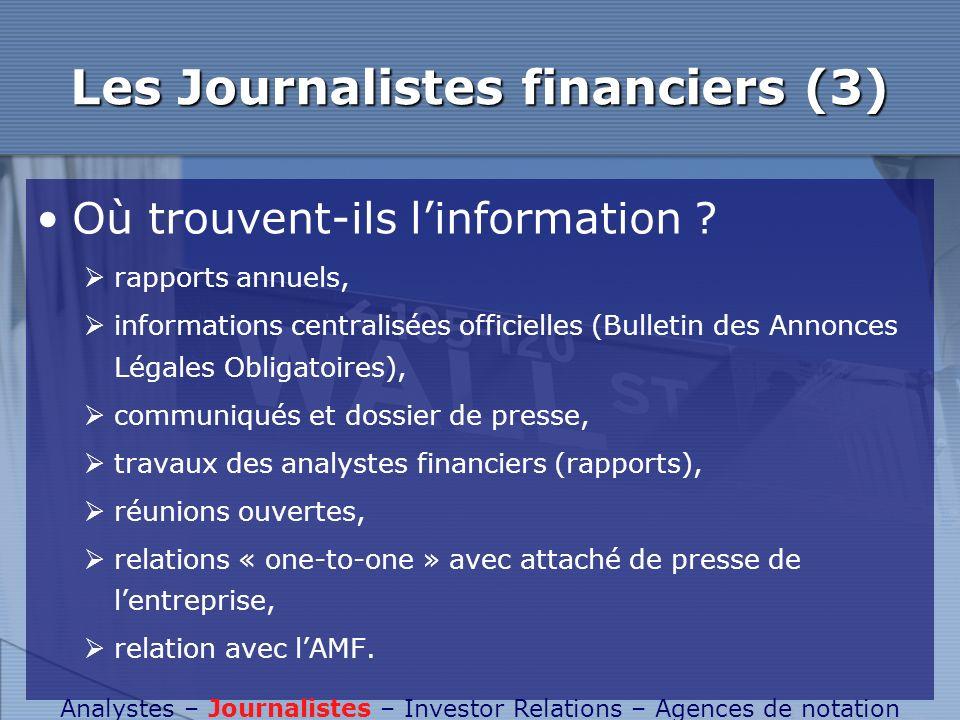 Les Journalistes financiers (3) Où trouvent-ils linformation ? rapports annuels, informations centralisées officielles (Bulletin des Annonces Légales