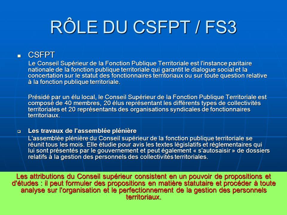 RÔLE DU CSFPT/FS3 FS3 FS3 Le CSFPT peut siéger en assemblée plénière, en bureau ou en Formation Spécialisée.