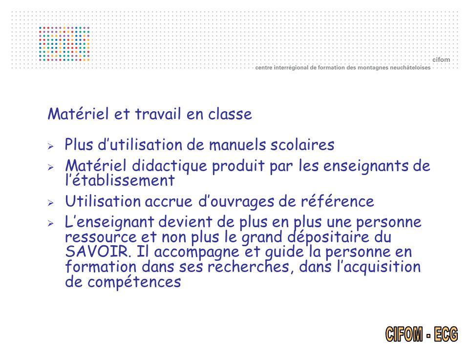 Matériel et travail en classe Plus dutilisation de manuels scolaires Matériel didactique produit par les enseignants de létablissement Utilisation acc