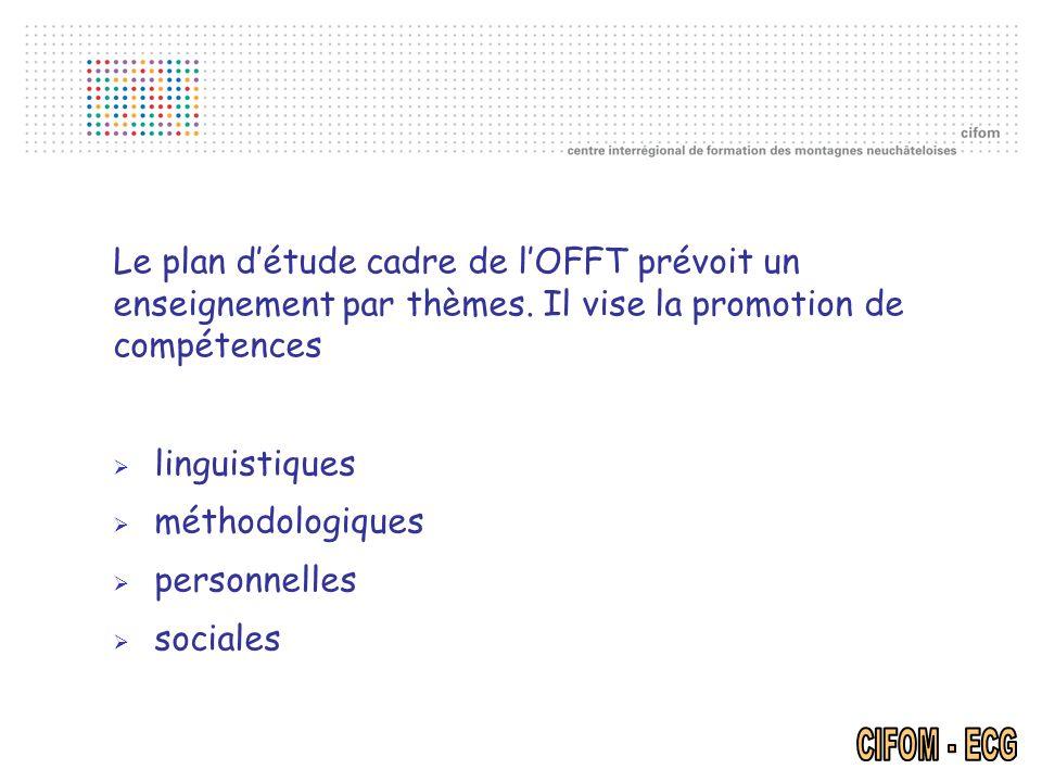 Le plan détude cadre de lOFFT prévoit un enseignement par thèmes. Il vise la promotion de compétences linguistiques méthodologiques personnelles socia